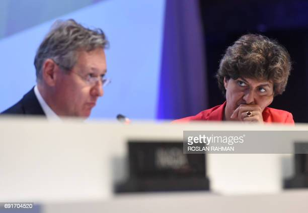 French Minister for Armed Forces Sylvie Goulard looks on while John Chipman directorgeneral and chief executive of IISS makes an introduction during...