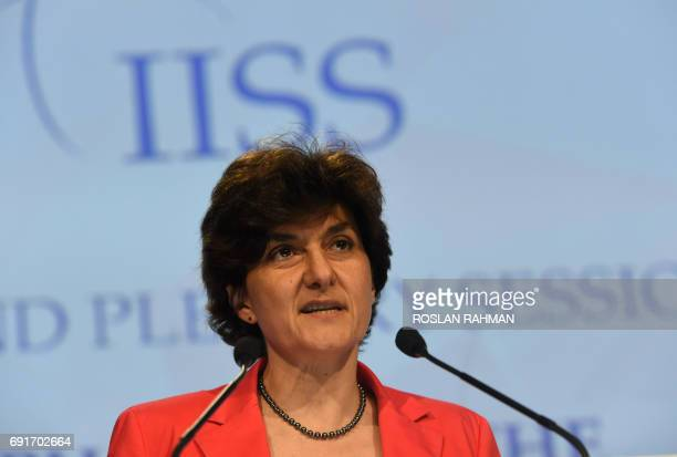 French Minister for Armed Forces Sylvie Goulard speaks during the second plenary session at the 16th Institute for Strategic Studies ShangriLa...