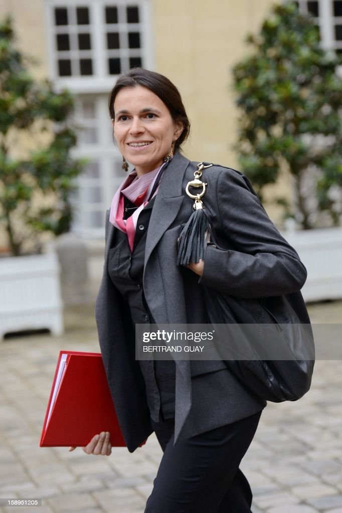 French Minister for Culture and Communication, Aurelie Filippetti leaves a government seminar focusing on the government's agenda for the coming year on January 4, 2013 at the Hotel Matignon in Paris.