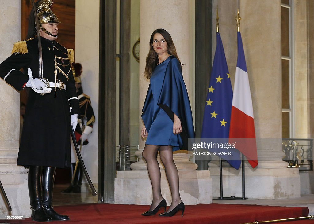 French Minister for Culture and Communication, Aurelie Filippetti arrives at the Elysee palace in Paris, before a state dinner as part of a two-day state visit of Italian President Giorgio Napolitano, on November 21, 2012.