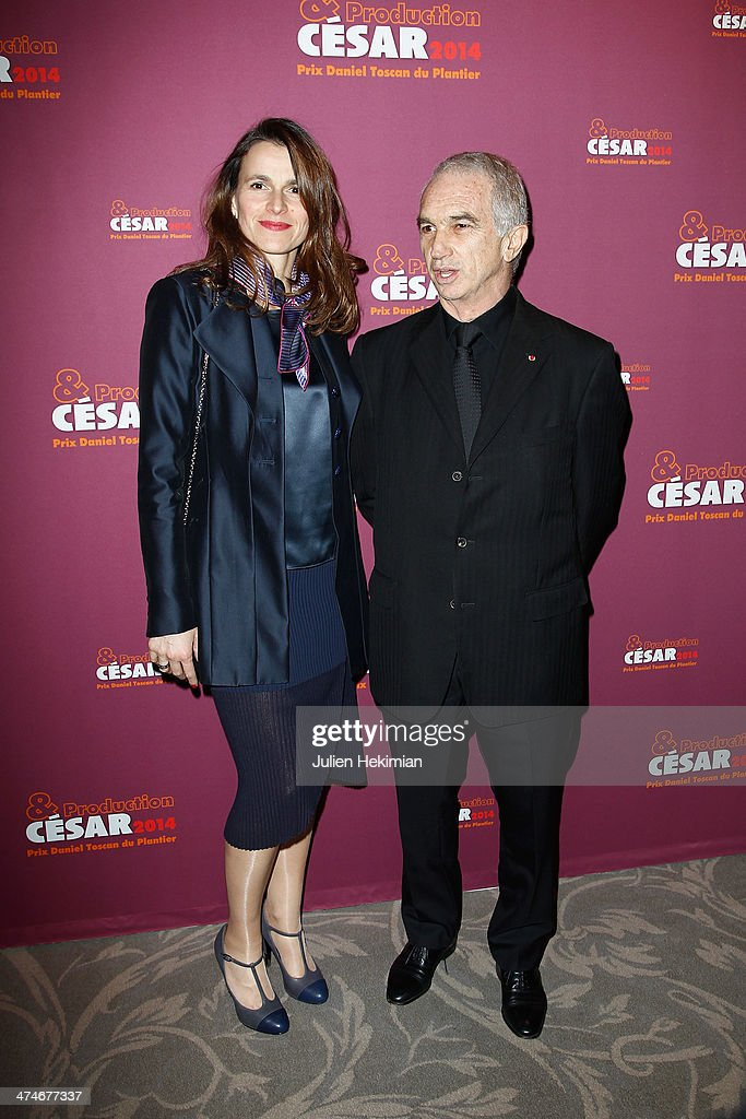 French Minister for Culture Aurelie Filippetti and Alain Terzian attend the Producer's Dinner Cesar Film Awards 2014 at Hotel George V on February 24, 2014 in Paris, France.