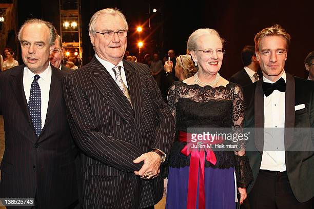 French Minister for Culture Frederic Mitterrand Prince Consort Henrik of Denmark Queen Margrethe of Denmark and Nikolaj Hubbe attend 'Napoli'...