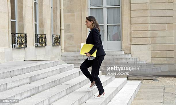 French Minister for Ecology Sustainable Development and Energy Segolene Royal arrives at the Elysee Palace in Paris on June 17 2014 for a meeting...