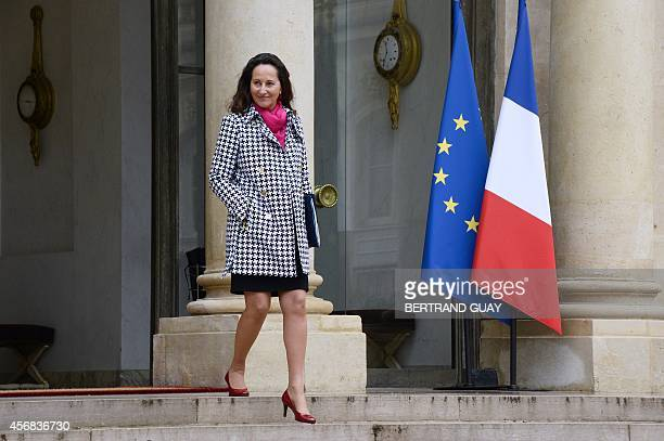French minister for Ecology Sustainable Development and Energy Segolene Royal leaves the weekly cabinet meeting on October 8 2014 at the Elysee...