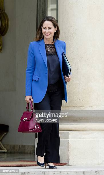 French minister for Ecology Sustainable Development and Energy Segolene Royal leaves the Elysee palace on May 7 in Paris after the weekly cabinet...