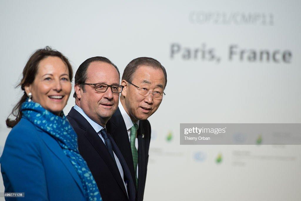 French Minister for Ecology Sustainable Development and Energy Segolene Royal French President Francois Hollande and United Nations secretary Ban...