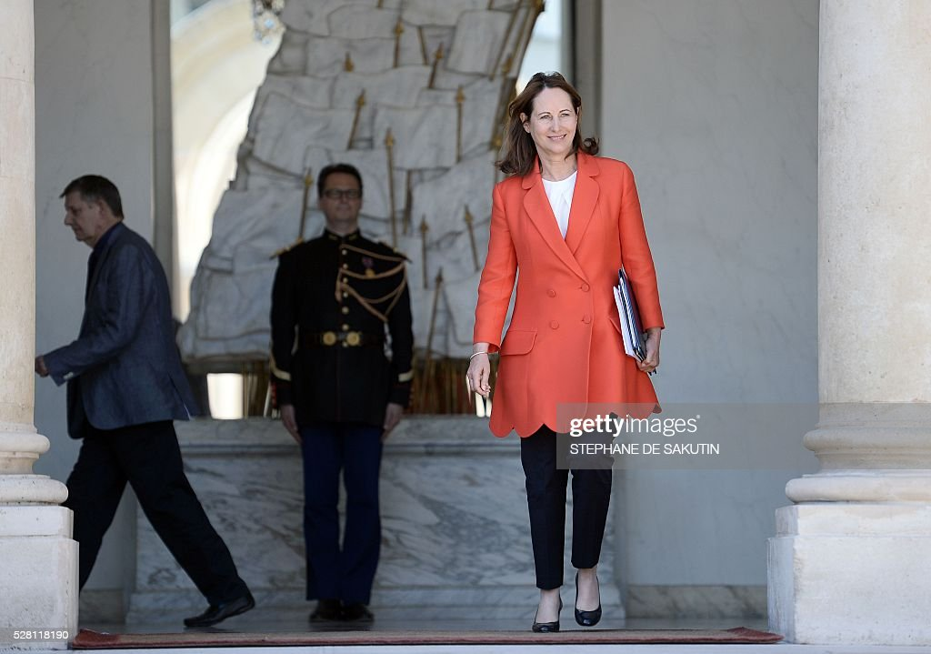 French minister for Ecology, Sustainable Development and Energy Segolene Royal leaves the Elysee presidential Palace after the weekly cabinet meeting in Paris on May 4, 2016 .