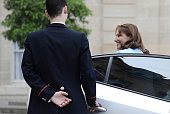 French minister for Ecology Sustainable Development and Energy Segolene Royal arrives for a ceremony marking the first anniversary of the 'energy...