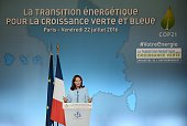 French minister for Ecology Sustainable Development and Energy Segolene Royal delivers a speech during a ceremony marking the first anniversary of...