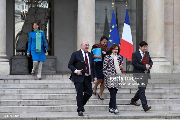 French minister for Ecology Sustainable Development and Energy Segolene Royal French Finance minister Michel Sapin French junior minister for Cities...