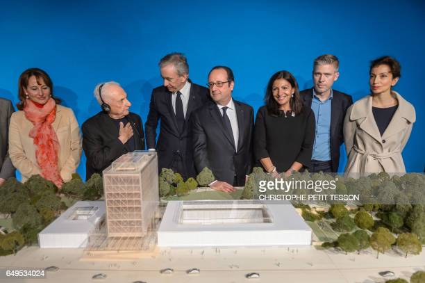 French Minister for Ecology Sustainable Development and Energy Segolene Royal CanadianAmerican architect Frank Gehry CEO of LVMH Bernard Arnault...