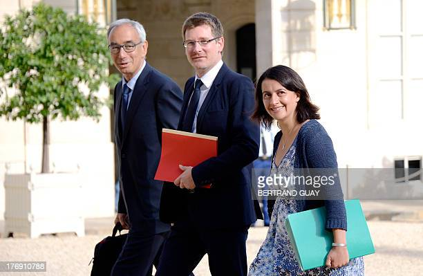 French minister for Equality of Territories and Housing Cecile Duflot and French junior minister for Development Pascal Canfin and French economist...