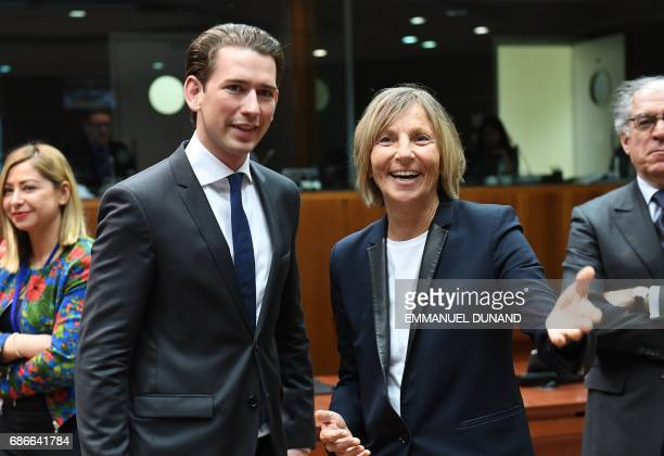 French Minister for European Affairs Marielle de Sarnez talks with Austria's Foreign Minister Sebastian Kurz during a general affairs council at the...