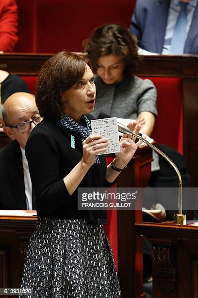 French Minister for Families Children and Women's Rights Laurence Rossignol speaks during a session of questions to the government at the National...