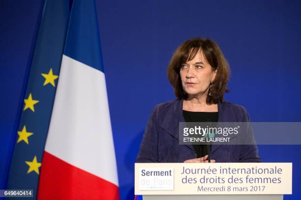French Minister for Families Children and Womens Rights Laurence Rossignol delivers a speech during a meeting for the International Women's Day at...