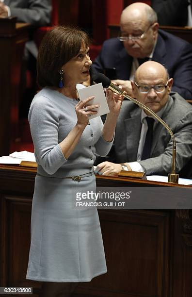 French Minister for Family Children and Women's Rights Laurence Rossignol speaks during a session of questions to the government at the National...