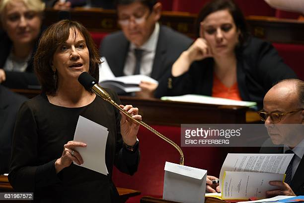 French Minister for Family Children and Women's Rights Laurence Rossignol speaks during a session of questions to the government at the French...
