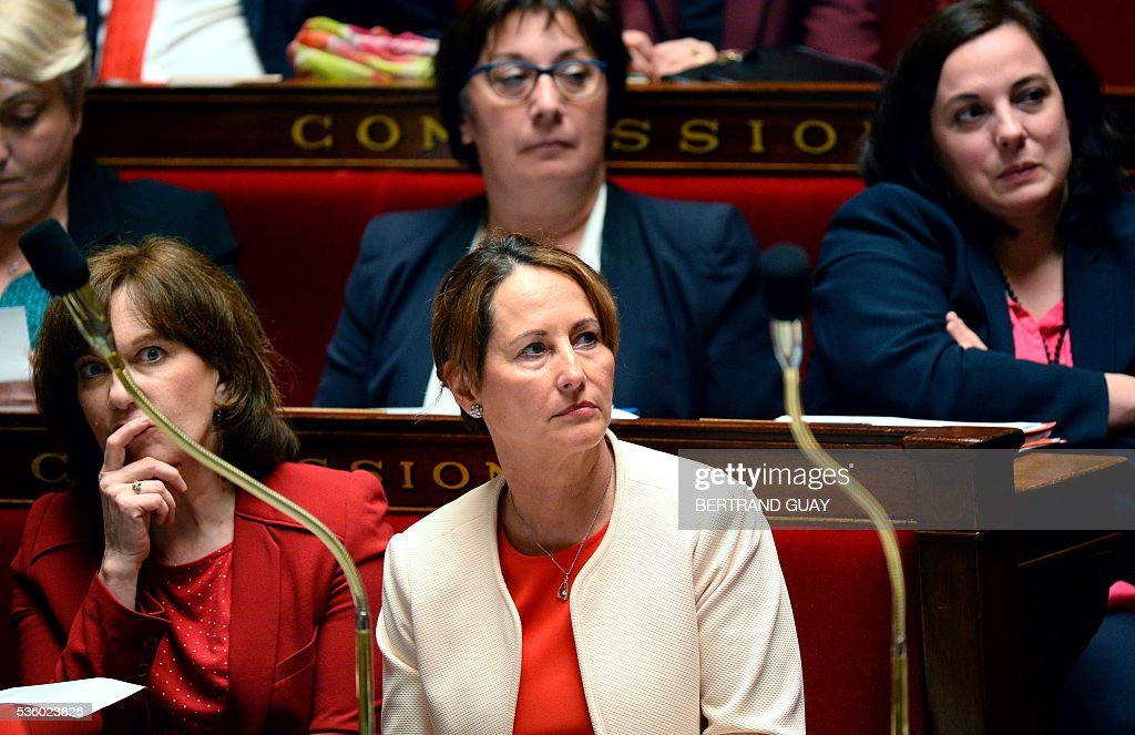 French Minister for Family, Children and Women's Rights Laurence Rossignol and French Minister for Ecology, Sustainable Development and Energy Segolene Royal, French Junior Minister for Trade, Handicraft and Social and Solidarity Economy Martine Pinville and French Housing Minister Emmanuelle Cosse attend a session of questions to the Government at the French National Assembly in Paris, on May 31, 2016.