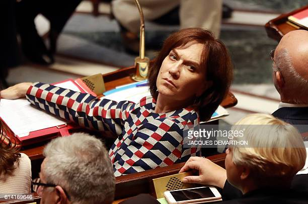 French Minister for Family Children and Women's Rights Laurence Rossignol looks on during a session of questions to the government at the National...