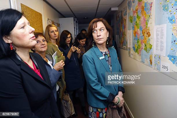 French minister for Family children and Women's Rights Laurence Rossignol visits offices of the French Fédération Nationale Solidarité Femmes on...