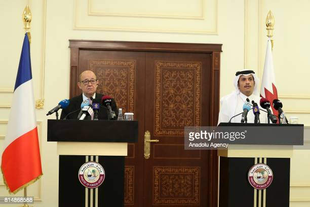 French Minister for Foreign and European Affairs JeanYves Le Drian and Qatari Foreign Minister Sheik Mohammed bin Abdulrahman AlThani hold a press...