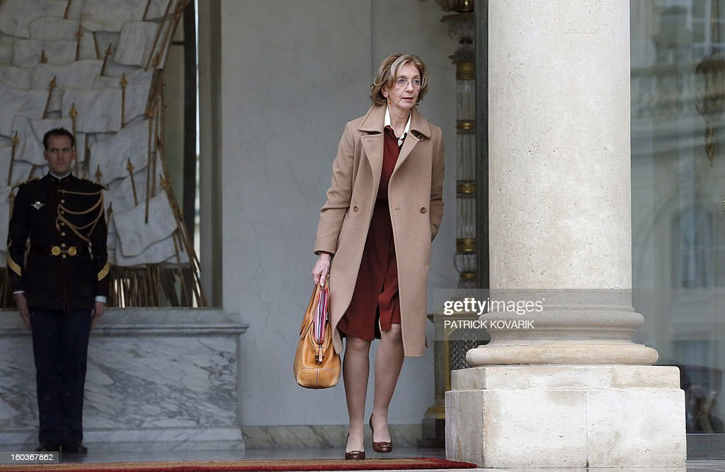 French Minister for Foreign Trade, Nicole Bricq, leaves the Elysee Presidential Palace after the weekly cabinet meeting on January 30, 2013 in Paris. AFP PHOTO / PATRICK KOVARIK