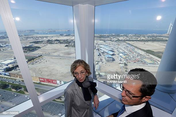 French Minister for Foreign Trade Nicole Bricq visits the Dubai tramway project under construction as the first tram was delivered by French company...