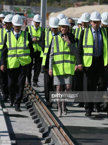 French Minister for Foreign Trade Nicole Bricq visits the construction site of the Dubai tramway project as the first tram was delivered by French...