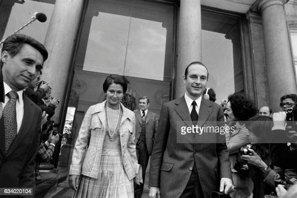 French Minister for Health Simone Veil and French Prime minister Jacques Chirac leave the Elysee Palace after the weekly cabinet meeting on June 5...