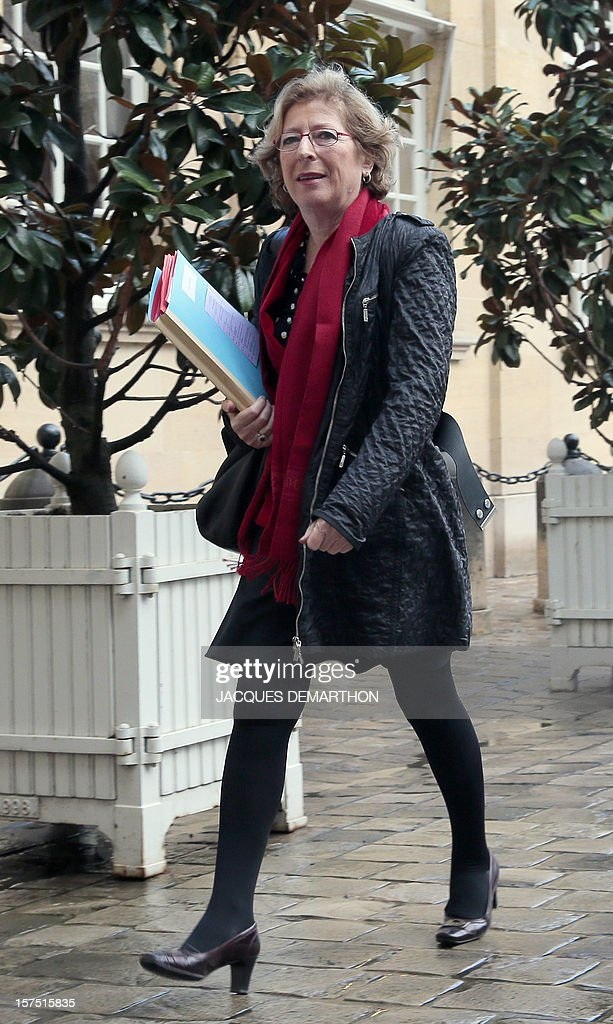 French Minister for Higher Education and Research Genevieve Fioraso arrives on December 4, 2012, in Paris, at the Hotel Matignon, the Prime Minister official residence, to participate in a goverment seminar focused on ecological transition.