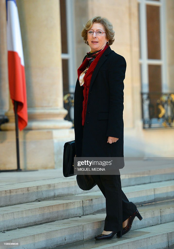 French Minister for Higher Education and Research, Genevieve Fioraso looks on as she arrives on January 4, 2013 at the Elysee presidential Palace in Paris, to attend a meeting focused on France's economic situation and employment, with French President, French Prime Minister and French government's ministers.