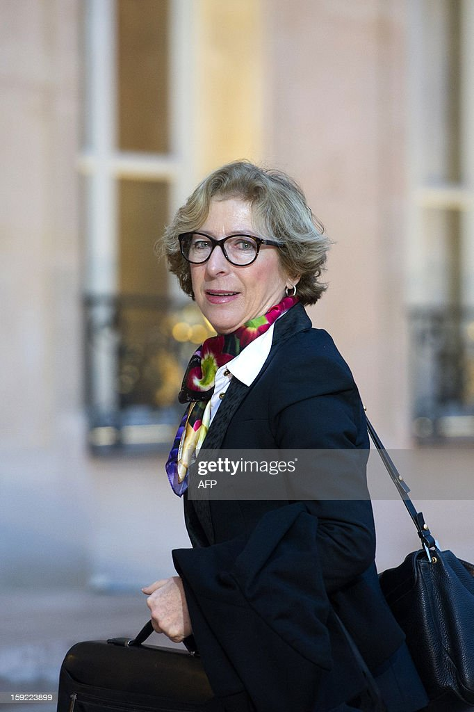 French Minister for Higher Education and Research Genevieve Fioraso arrives at the Elysee presidential Palace to attend a meeting on investment strategy in Paris on January 10, 2013.