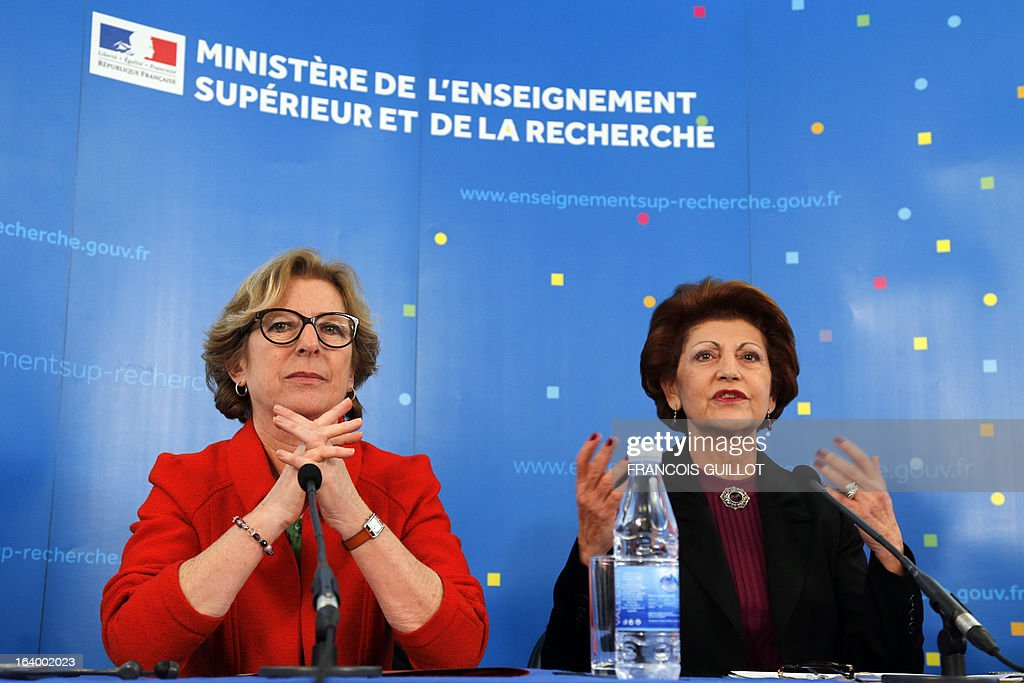 French Minister for Higher Education and Research Genevieve Fioraso (L) and European Union Commissioner for Education, Culture and Youth Androulla Vassiliou, give a press conference on the CERES project in Paris on March 19, 2013.
