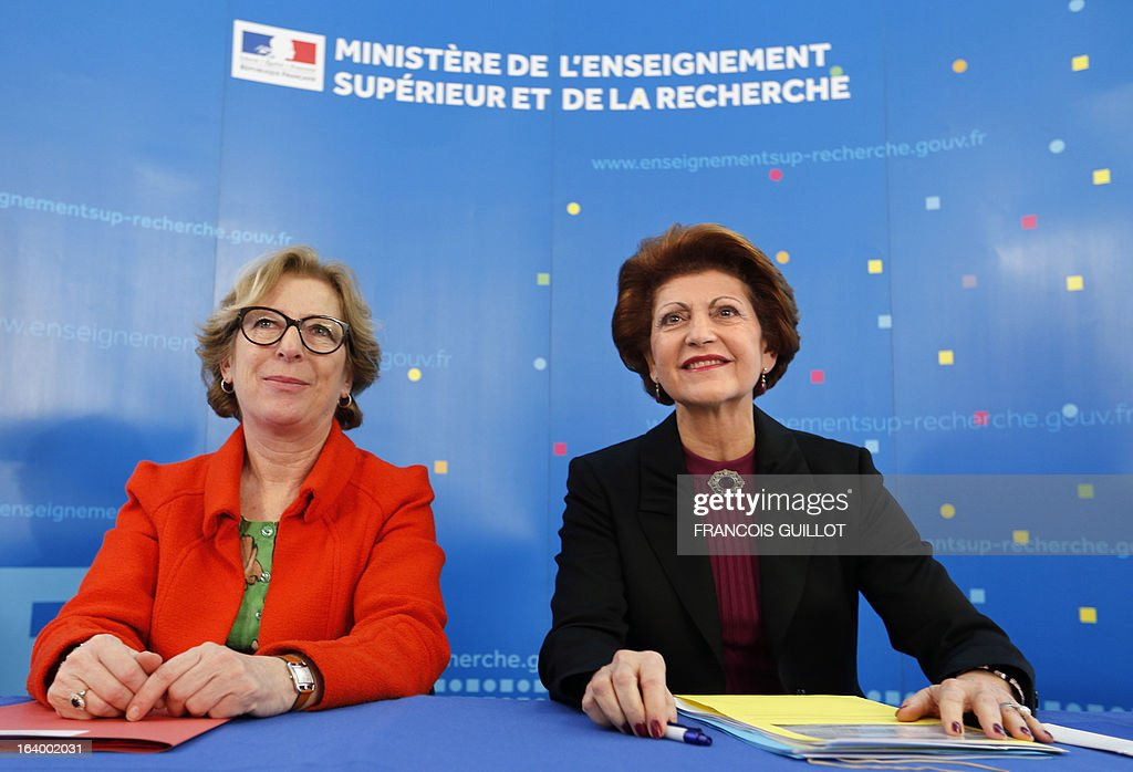 French Minister for Higher Education and Research Genevieve Fioraso (L) and European Union Commissioner for Education, Culture and Youth Androulla Vassiliou, give a press conference on the CERES pr...