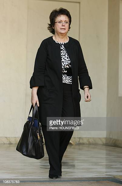 French Minister for Housing and Urban Affairs Christine Boutin leaves the weekly cabinet meeting in Paris France on November 28th2007