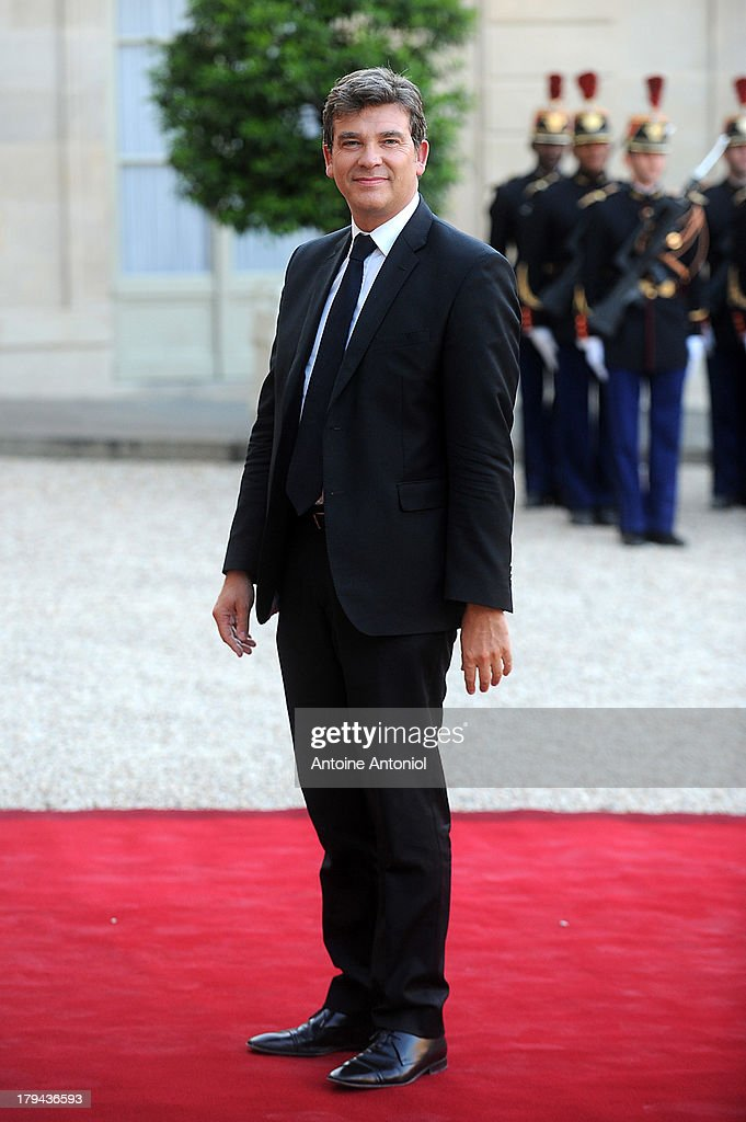 French Minister for Industrial Recovery <a gi-track='captionPersonalityLinkClicked' href=/galleries/search?phrase=Arnaud+Montebourg&family=editorial&specificpeople=588268 ng-click='$event.stopPropagation()'>Arnaud Montebourg</a> arrives at the Elysee Palace for a state dinner on September 3, 2013 in Paris, France. The German President is in France for a 3 day state visit.