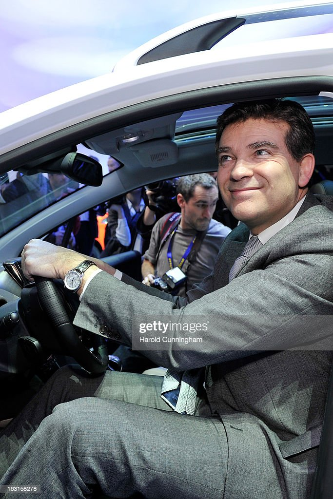 French Minister for Industrial Recovery Arnaud Montebourg visits the Peugeot booth during the 83rd Geneva Motor Show on March 5, 2013 in Geneva, Switzerland. Held annually with more than 130 product premiers from the auto industry unveiled this year, the Geneva Motor Show is one of the world's five most important auto shows.