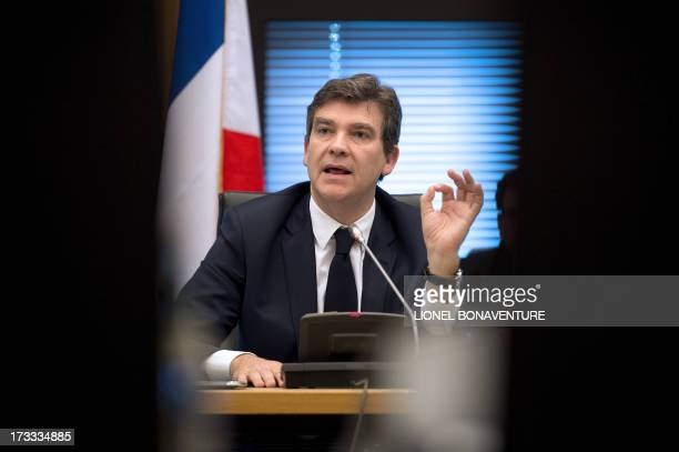 French Minister for Industrial Renewal and Food Industry Arnaud Montebourg speaks during a meeting with governement's auditors for Industrial Renewal...