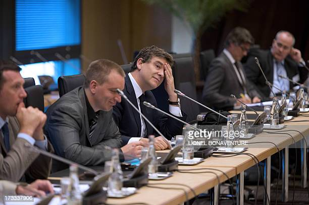 French Minister for Industrial Renewal and Food Industry Arnaud Montebourg attends a meeting with governement's auditors for Industrial Renewal on...