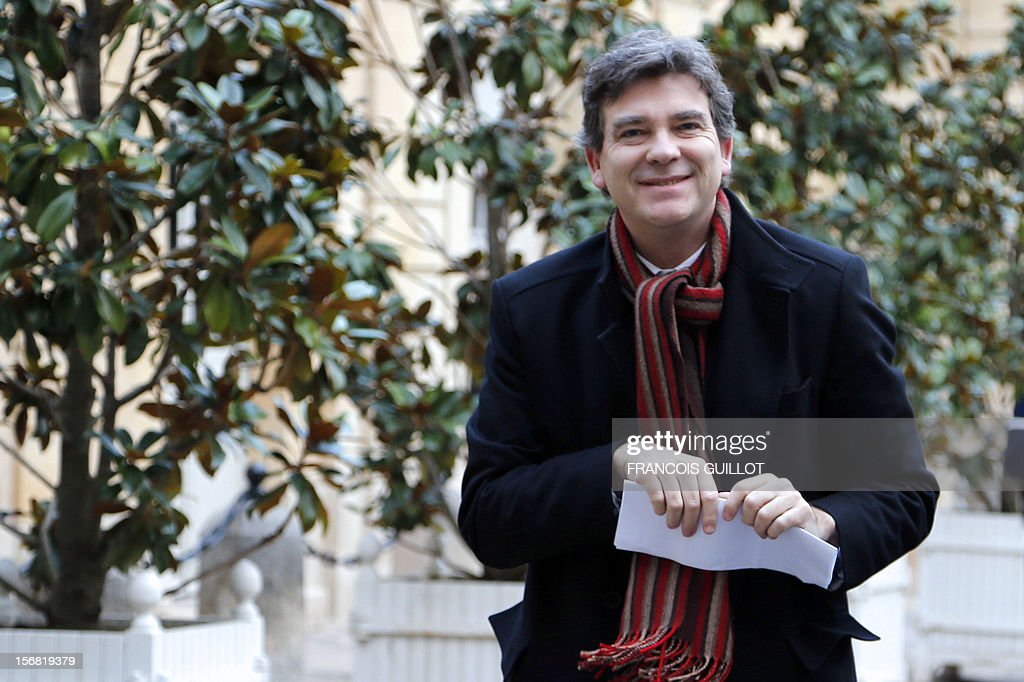 French Minister for Industrial Renewal and Food Industry, Arnaud Montebourg arrives for a meeting with Labour, Employment and Social Dialogue and CFDT union representatives on November 22, in Paris.