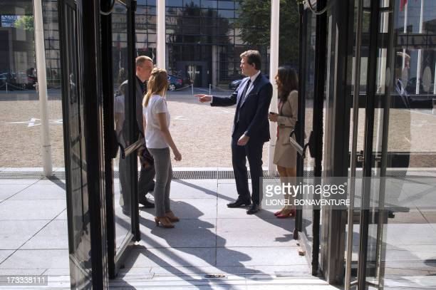 French Minister for Industrial Renewal and Food Industry Arnaud Montebourg arrives for a meeting with governement's auditors for Industrial Renewal...