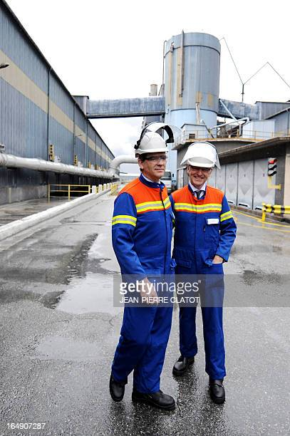 French Minister for Industrial Renewal Arnaud Montebourg and French Junior Minister for European Affairs Thierry Repentin visit the Rio Tinto Alcan...