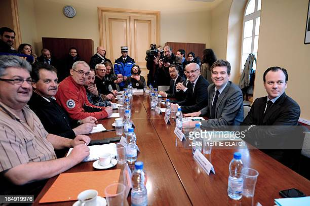 French Minister for Industrial Renewal Arnaud Montebourg French Junior Minister for European Affairs Thierry Repentin and unions representatives...
