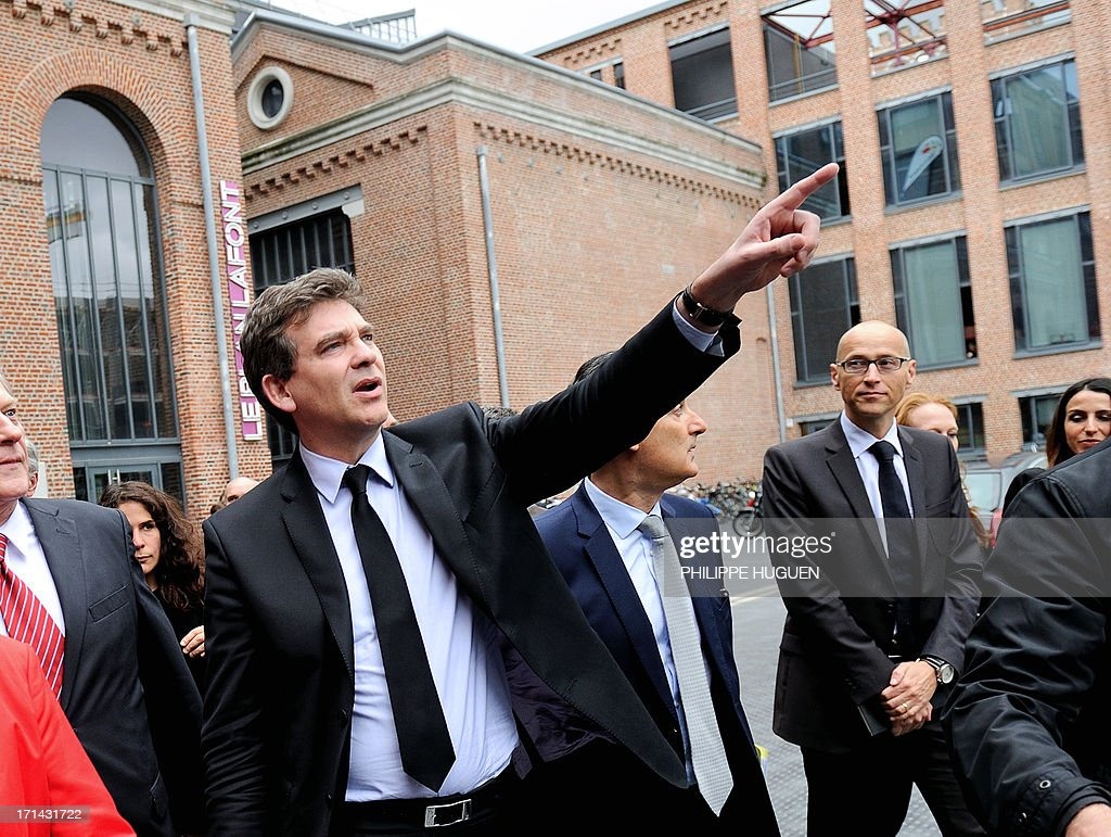 French minister for Industrial Renewal Arnaud Montebourg gestures as he arrives at Lille's technology hub Euratechnologies, northern France, on June 24, 2013 to announce the opening of a new IBM service center.