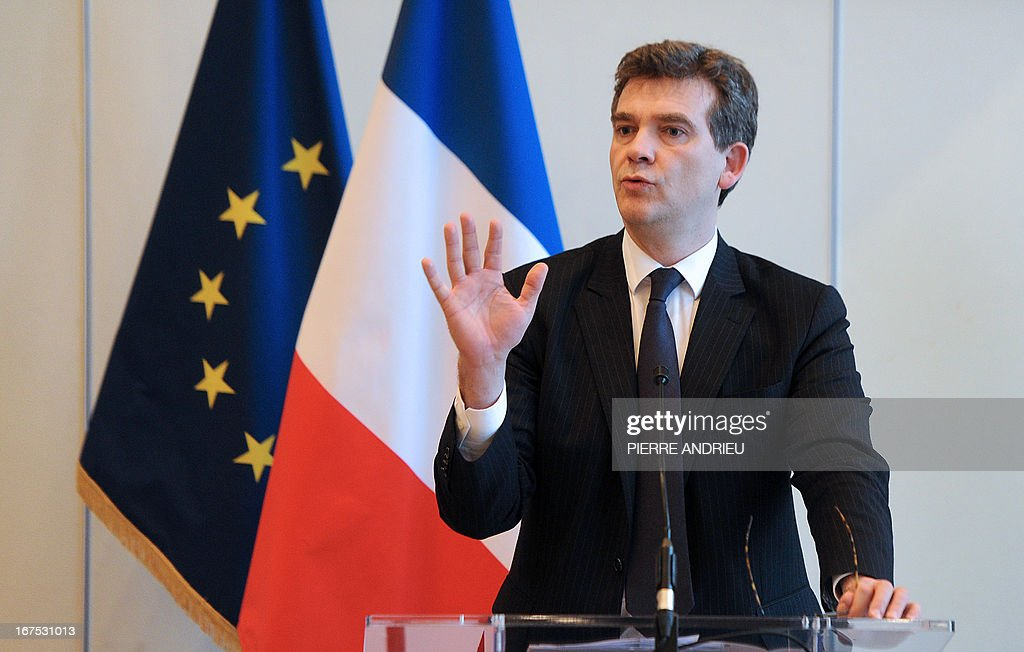 French Minister for Industrial Renewal, Arnaud Montebourg gives a press conference on April 26, 2013 in Paris, following the announcement by French carmaker Renault that its Japanese partner Nissan would manufacture its next generation subcompact Micra model at a factory in France, just a month after reaching a wage and working hours deal with French employees. The new Micra will be manufactured at the Renault plant at Flins, near Paris, from 2016 and will reach 82,000 vehicles per year, according to statements released by the companies.