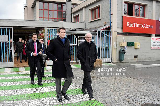 French Minister for Industrial Renewal Arnaud Montebourg leaves after a visit at the Rio Tinto Alcan aluminium factory on March 29 2013 in...
