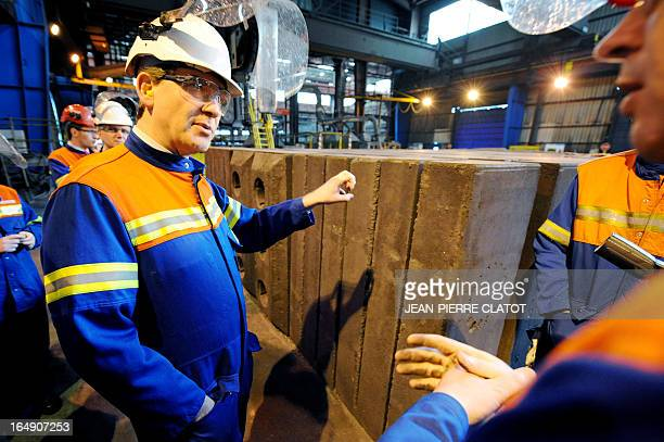 French Minister for Industrial Renewal Arnaud Montebourg visits the Rio Tinto Alcan factory on March 29 2013 in SaintJeandeMaurienne before talks...