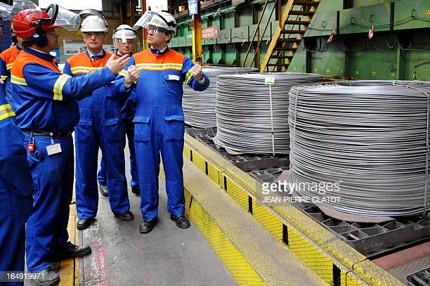 French Minister for Industrial Renewal Arnaud Montebourg visits the Rio Tinto Alcan aluminium factory on March 29 2013 in SaintJeandeMaurienne before...