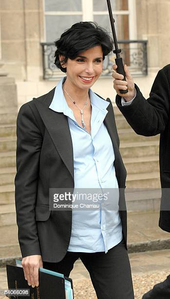 French minister for Justice Rachida Dati departs the weekly French cabinet meeting at the Elysee palace on December 17 2008 in Paris France
