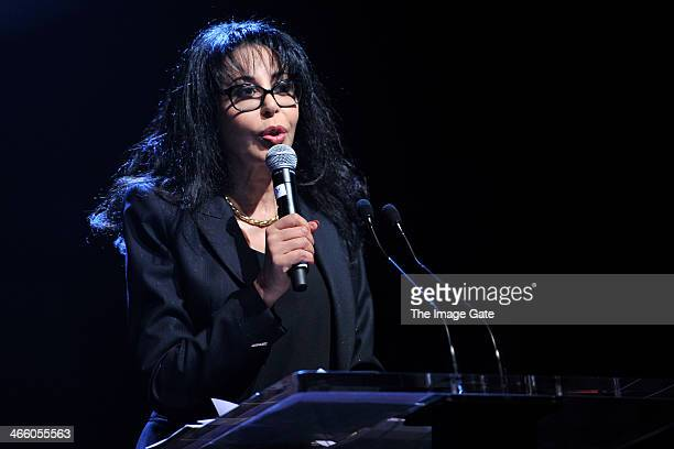French Minister for la Francophonie Yamina Benguigui speaks during the Womanity Foundation Gala 2014 held at the Espace Hippomene in favour of the...